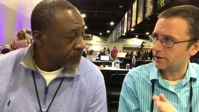 Detroit Lions radio analyst Lomas Braown speaks to Free Press sports writer Dave Birkett on Super Bowl radio row on Thursday, Jan. 31, 2019.