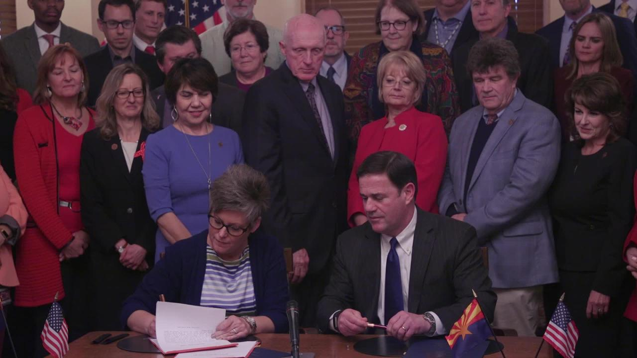 Arizona Gov. Doug Ducey signs the Drought Contingency Plan in a ceremony at the Arizona state Capitol on Jan. 31, 2019.