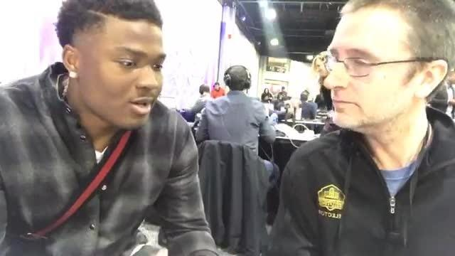 Ex-Ohio State QB Dwayne Haskins chats with Free Press' Dave Birkett about the 2019 NFL draft at a Super Bowl LIII event in Atlanta, Feb. 1, 2019
