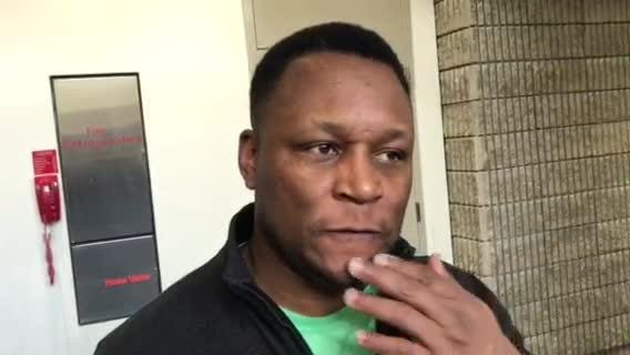 Detroit Lions Hall of Fame RB Barry Sanders explains his thoughts on Kerryon Johnson and the Lions offense at the Super Bowl, Feb. 1, 2019 in Atlanta.