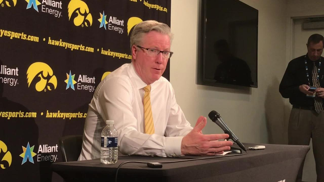 Iowa coach Fran McCaffery reacts to his team's 74-59 win against No. 5 Michigan.