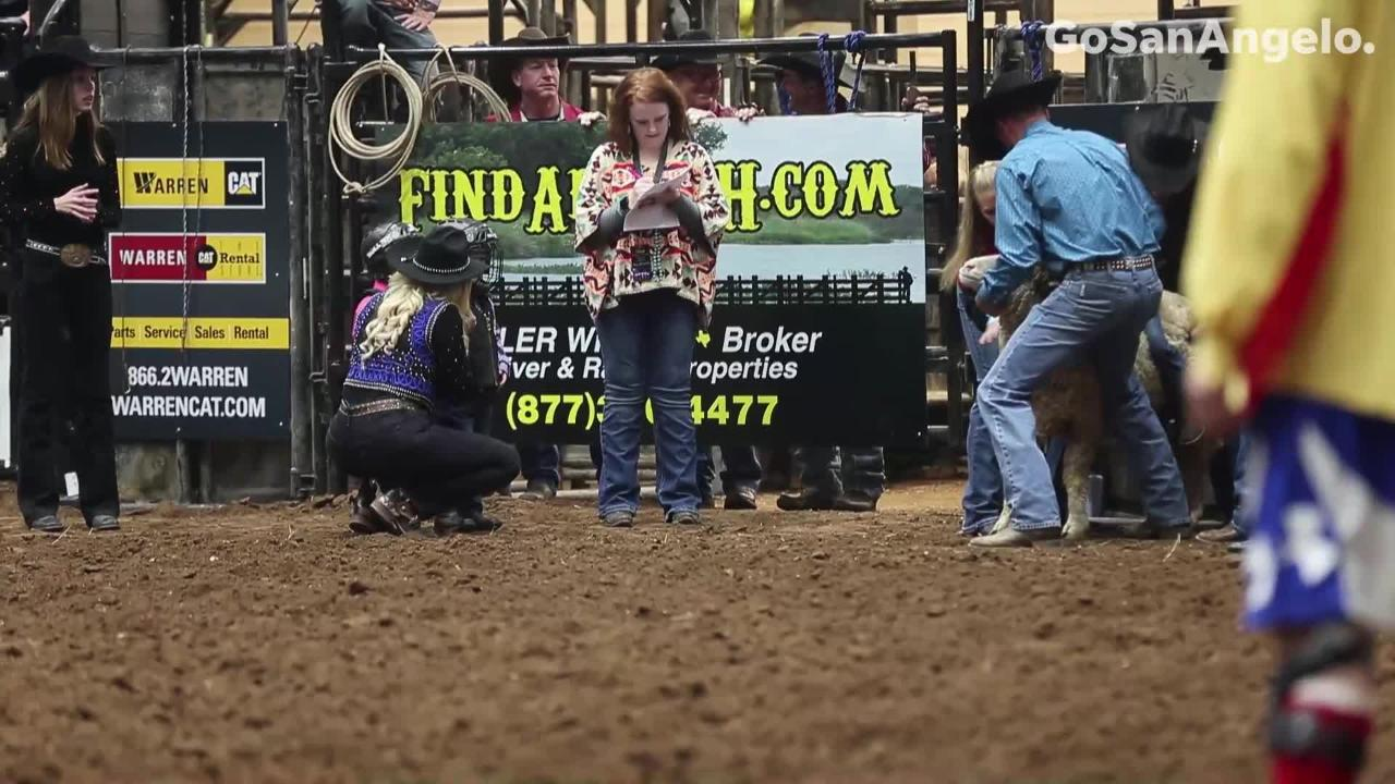 Mutton bustin' rides at the 1st performance of San Angelo Stock Show & Rodeo