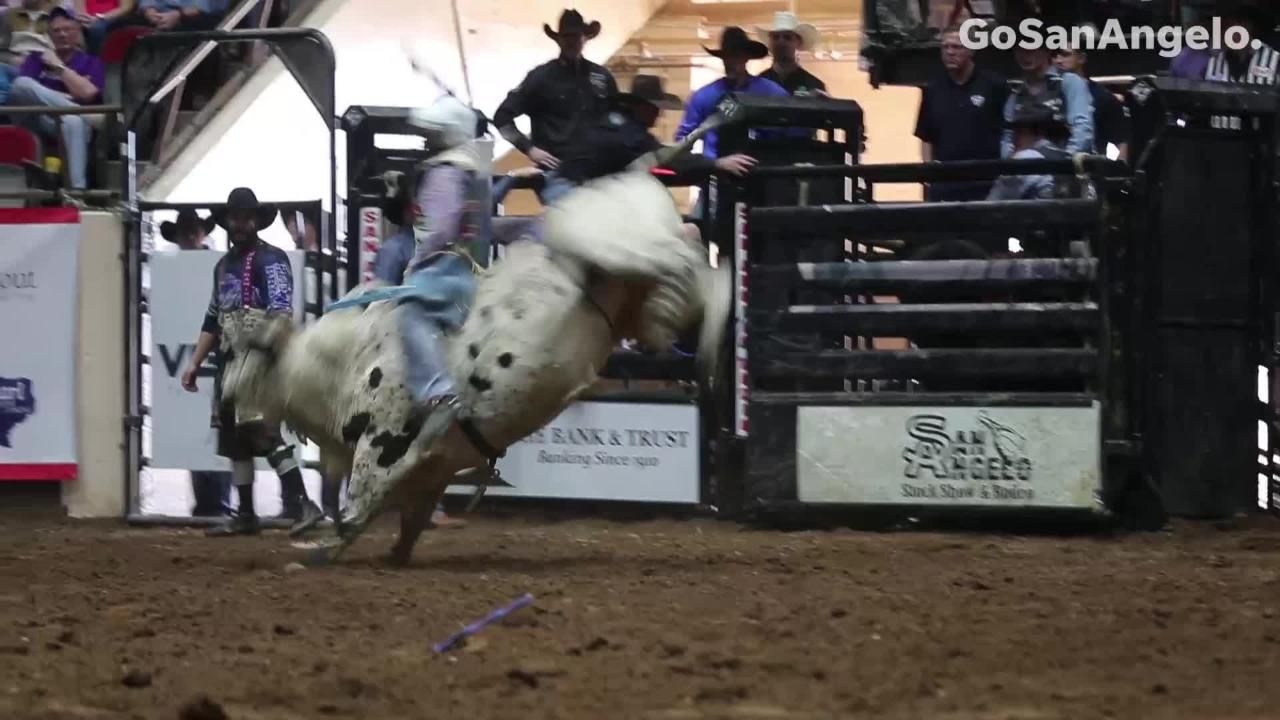 Cowboys take on the bulls at the Saturday Feb. 2, 2019 matinee show San Angelo Stock Show & Rodeo.