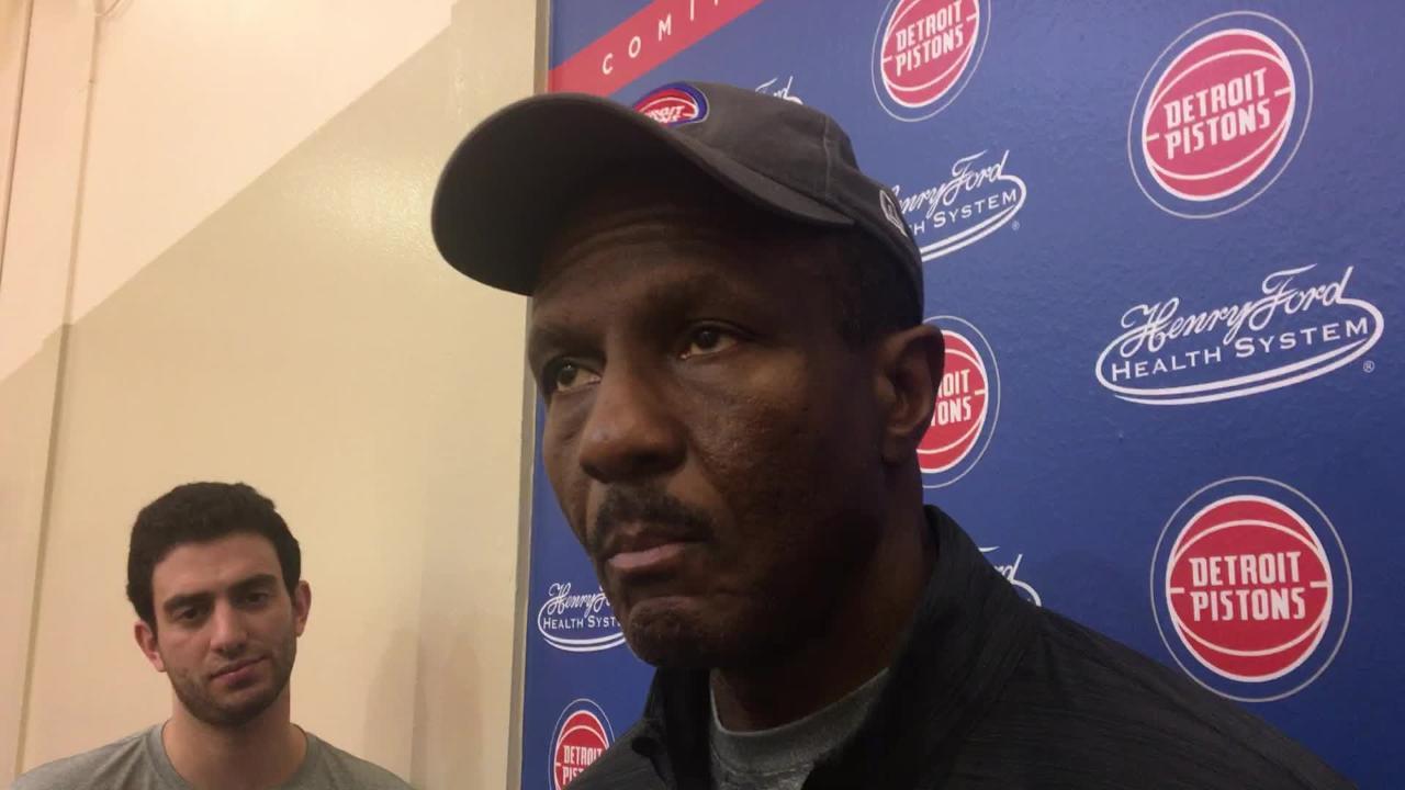 Detroit Pistons coach Dwane Casey speaks to the media on Sunday, Feb. 3, 2019, in Auburn Hills.