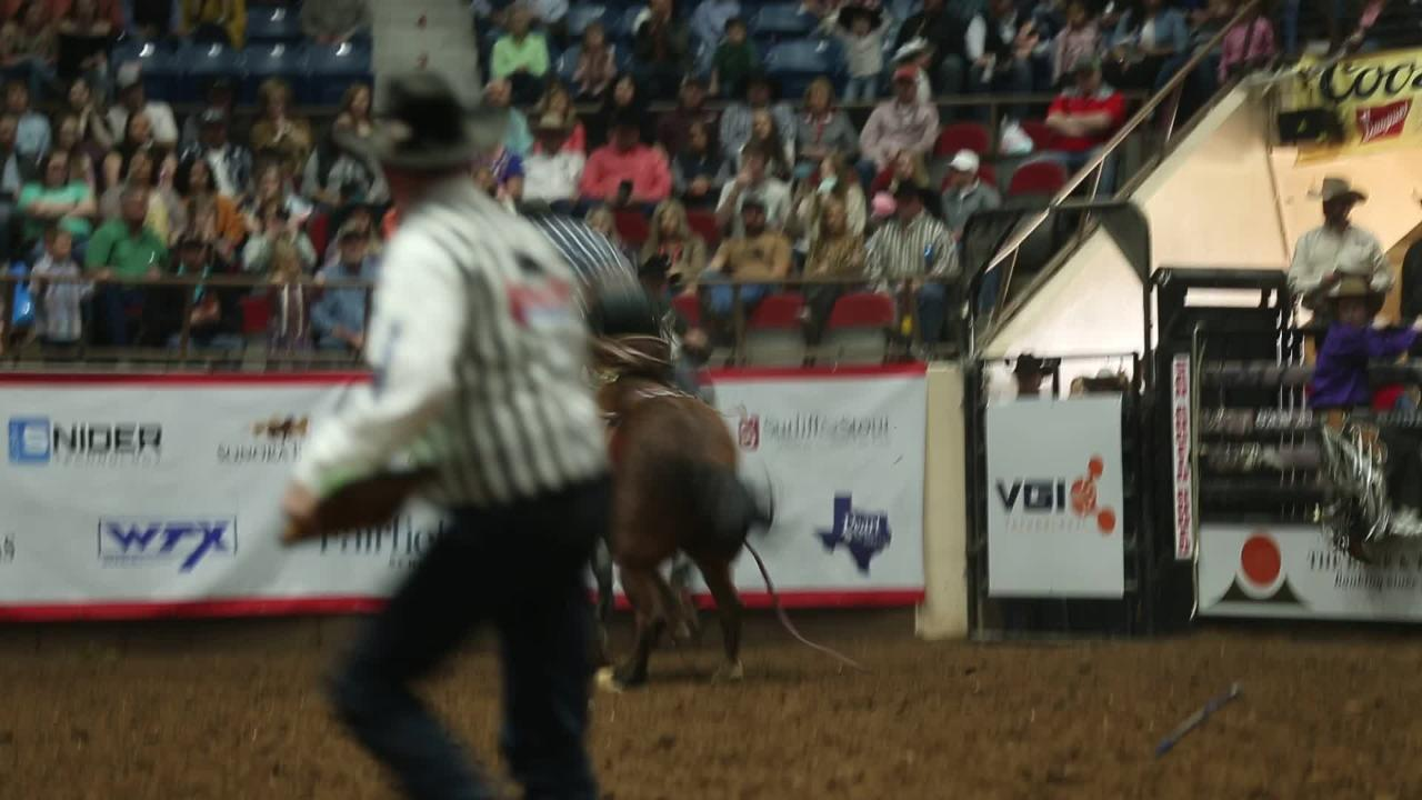 Wade Sundell's 83 point bronc ride Sunday, Feb. 3, 2019, at San Angelo Stock Show & Rodeo.