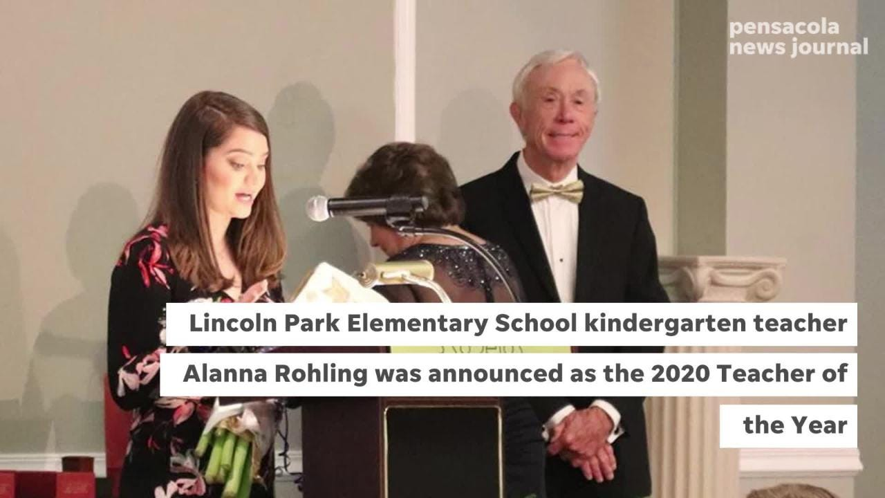 Alanna Rohling, a kindergarten teacher at Lincoln Park Elementary School, was selected as the Teacher of the Year for Escambia County. She'll go on to compete in the statewide competition in May.