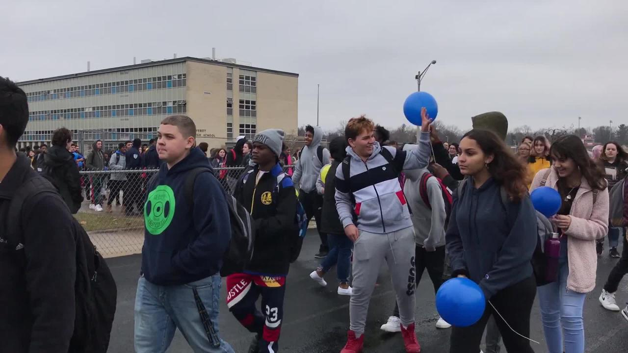 Watch students release balloons in honor of fellow student Michael Martin at Everett New Tech High School in Lansing. Michael, 13, died Jan. 25.