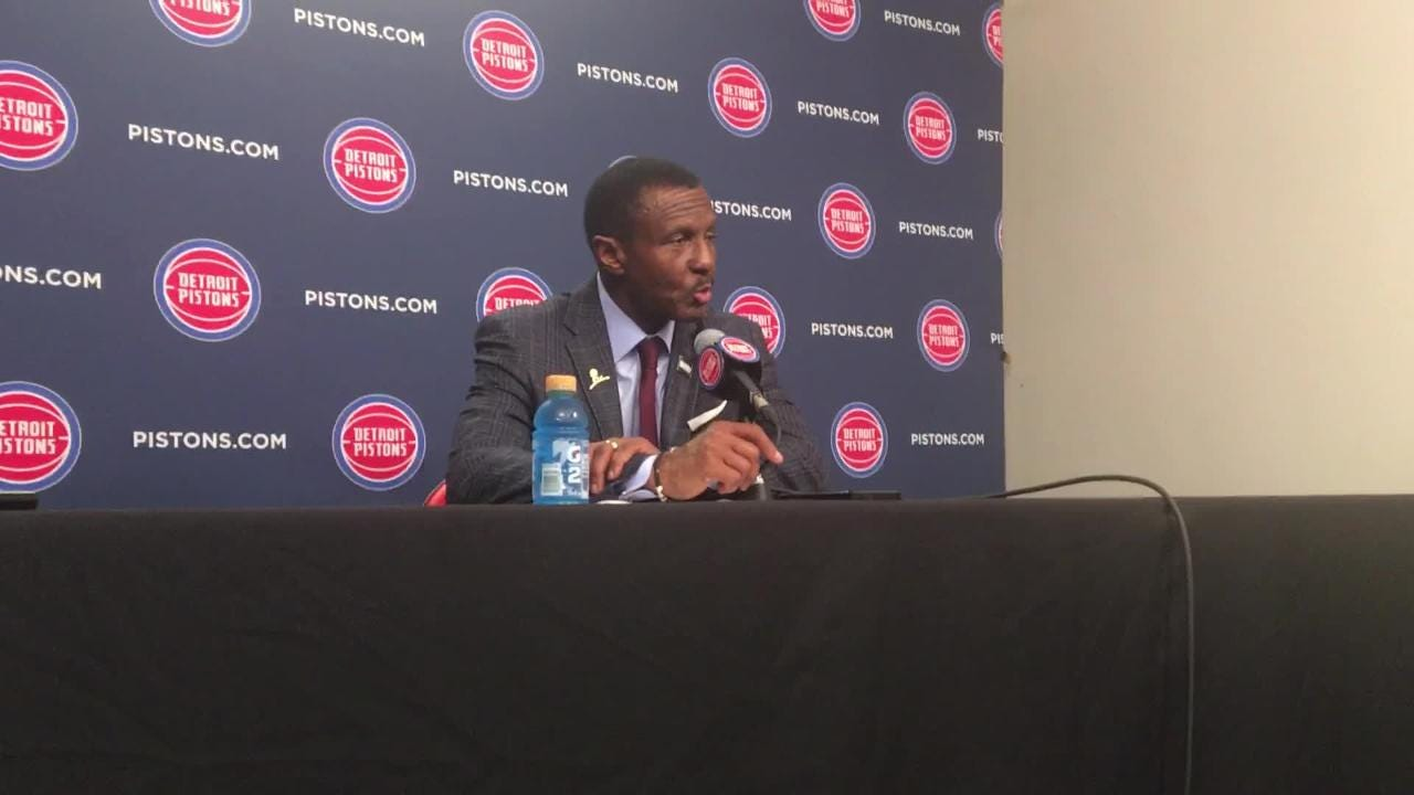 Detroit Pistons coach Dwane Casey loves how his team bounced back from devastating loss to Clippers to blowout West-leading Nuggets, Feb. 4, 2019.