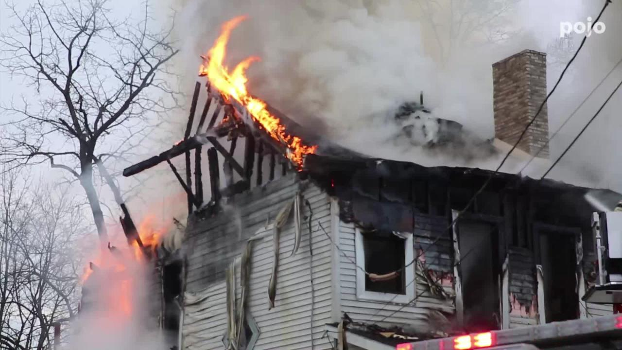 A Winnikee Avenue two-story apartment structure was ravaged by a fire Tuesday morning.
