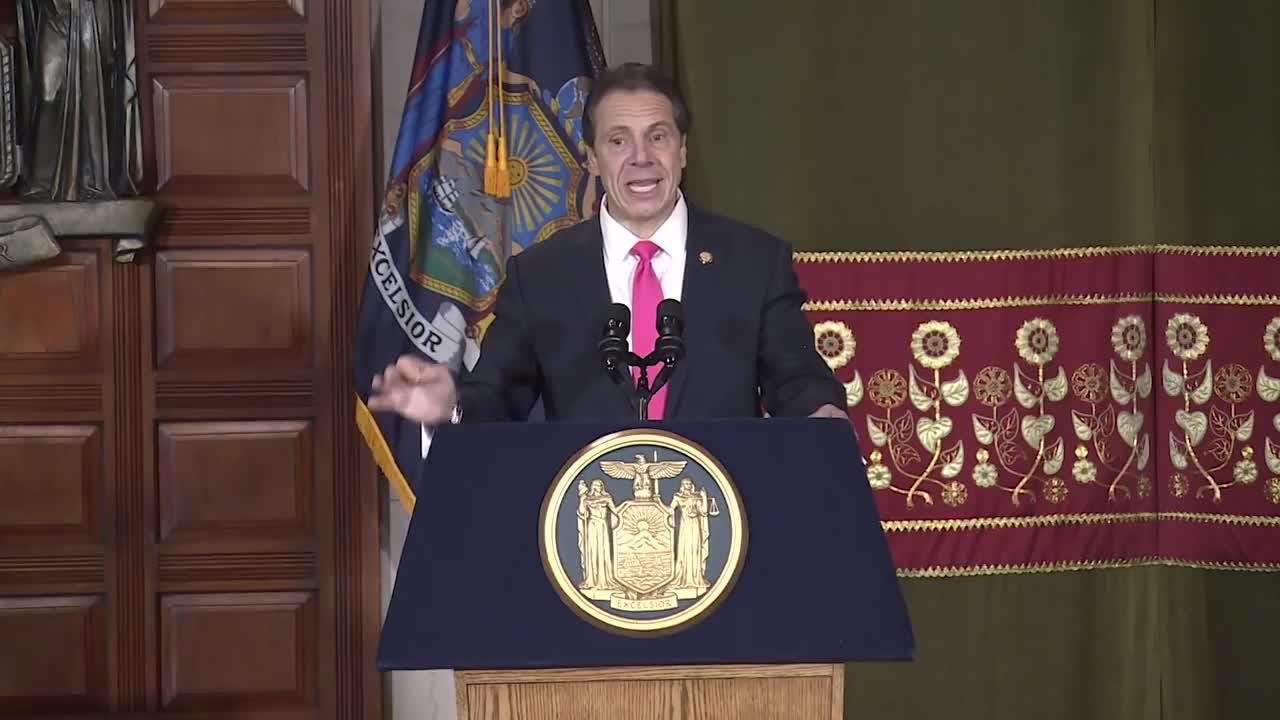 Gov. Andrew Cuomo signed the Reproductive Health Act on Jan. 22, 2019, which strengthens abortion rights in New York, during a ceremony at the state Capitol.