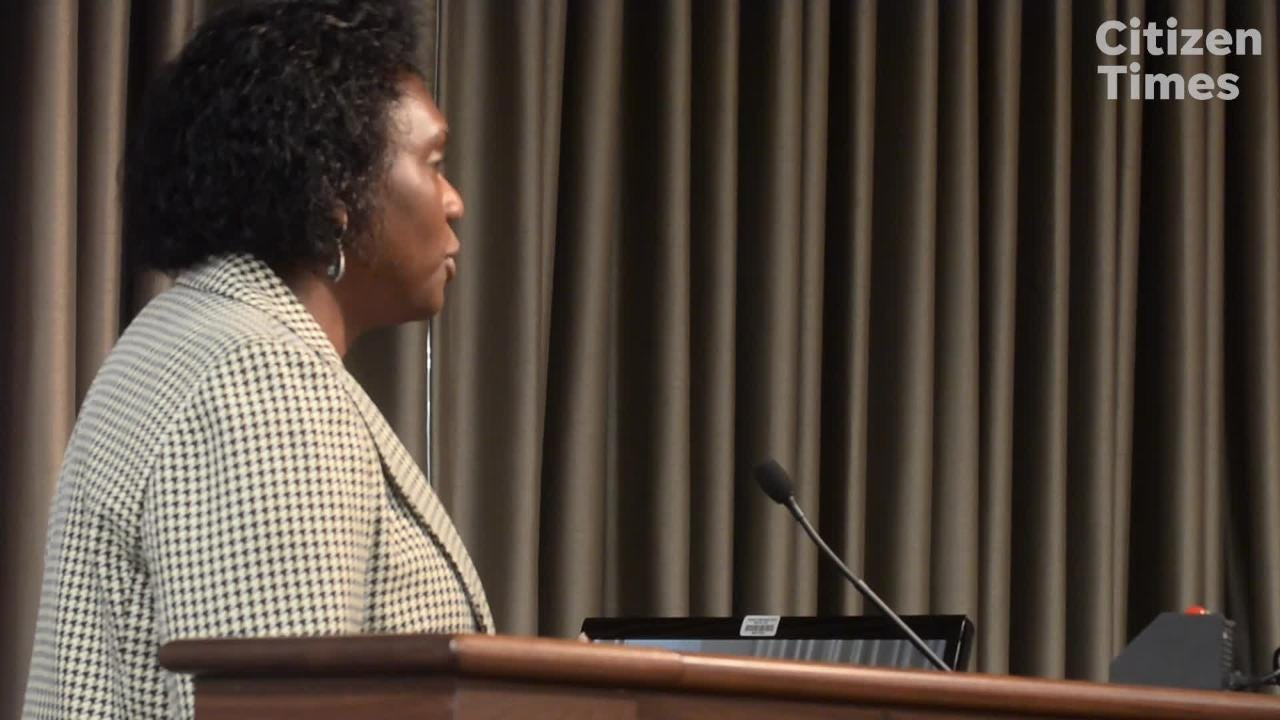 Avril Pinder, voted unanimously to be Buncombe County's next manager, addresses the commission Tuesday.