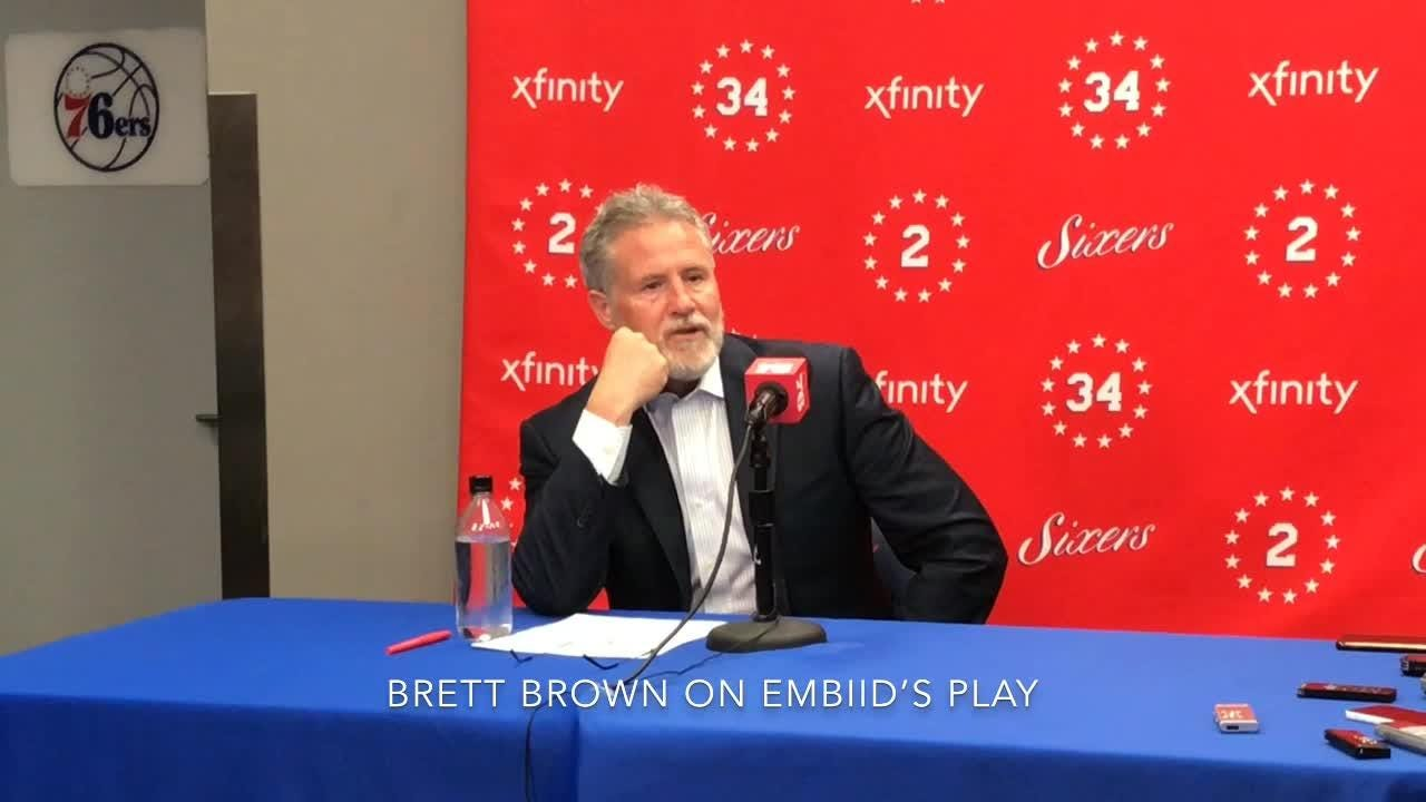 Joel Embiid and Sixers coach Brett Brown on the team's 119-107 loss to the Toronto Raptors.