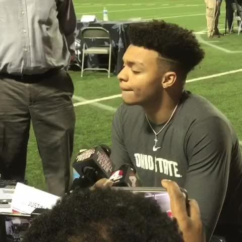 New OSU quarterback Justin Fields meets with the media for the first time