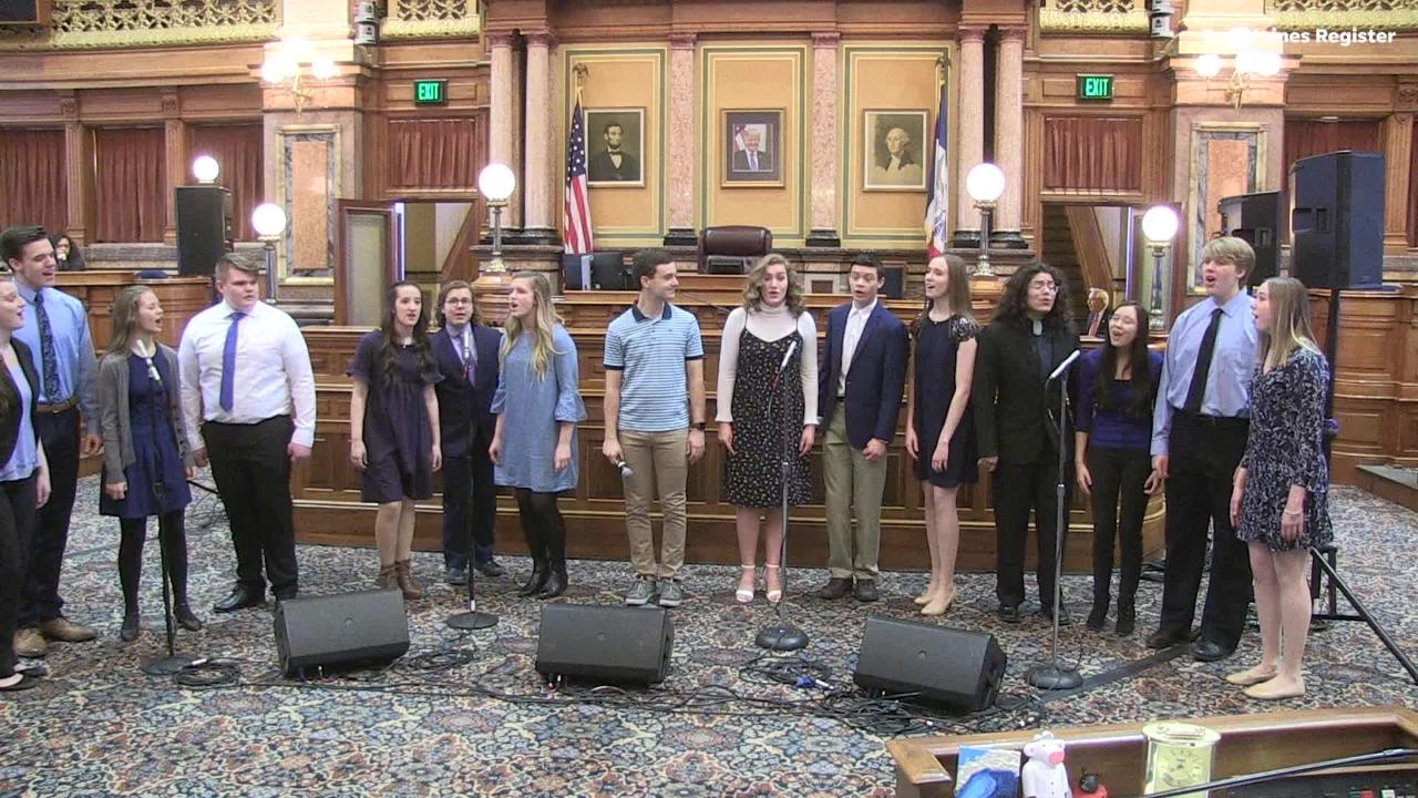 Stephen Christopher Anthony, star of the Broadway show Dear Evan Hansen, performs with Waukee High School's Avenue Jazz Choir at the Capitol.