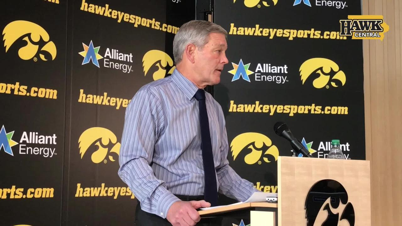 Iowa coach Kirk Ferentz addresses the media at the Feb. 6 signing day.