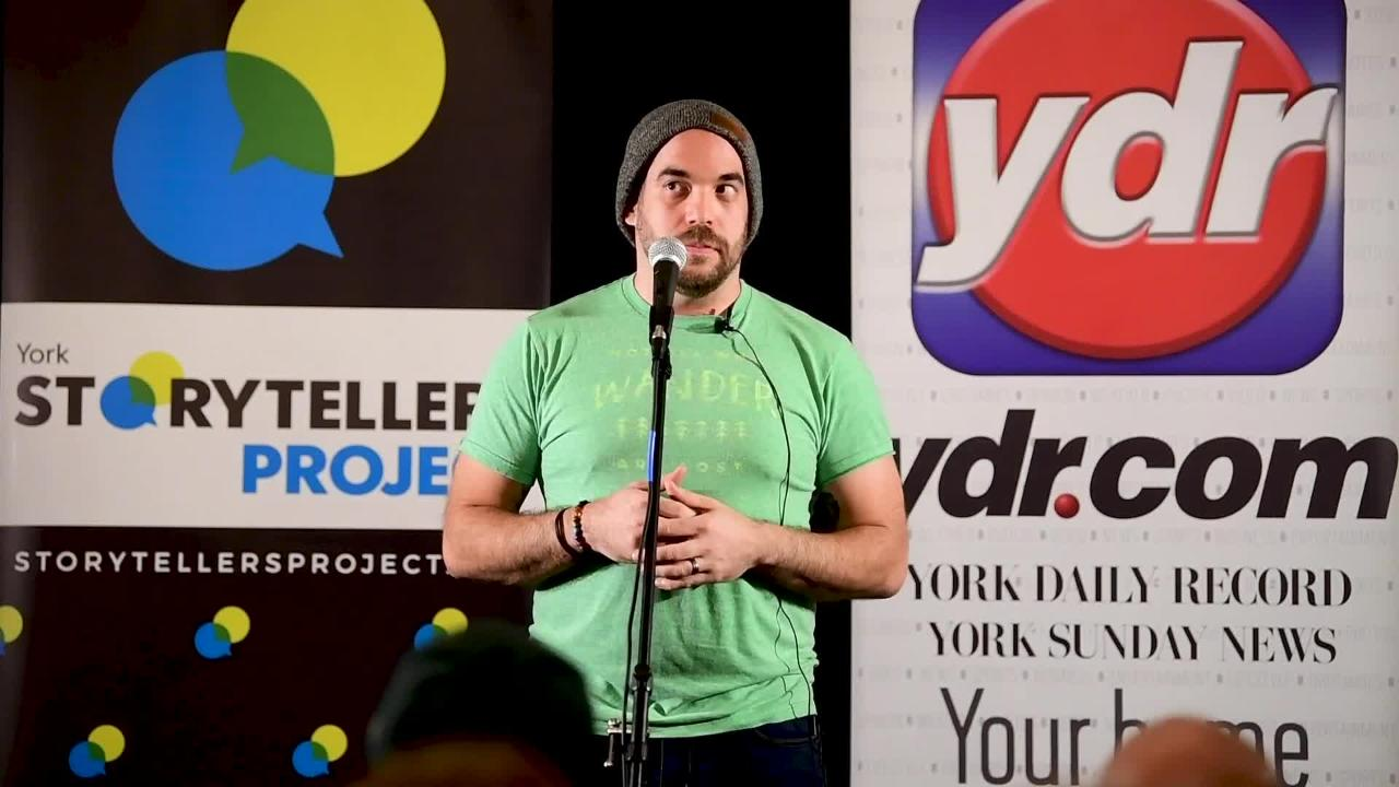 """Jason Konopinski tells his story with the topic of """"Don't Make Me Come Up There"""" at Wyndridge Farm, February 5, 2019."""