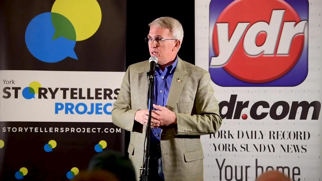 """Todd Platts tells his story with the topic of """"Don't Make Me Come Up There"""" at Wyndridge Farm, February 5, 2019."""