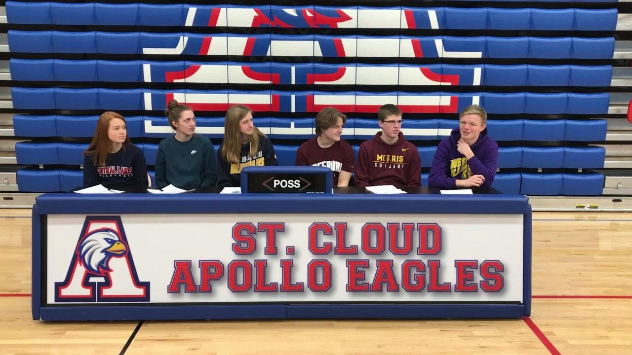 Apollo seniors sign letters of intent. They are (from left): Sarah Bennett, Haley Schleper, Julia Karls, Chris Hance, Joel Knopp and Logan Lommel.