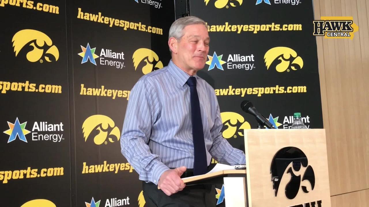 Iowa football coach Kirk Ferentz discusses the acquisition of grad transfer punter Michael Sleep-Dalton for the 2019 season.