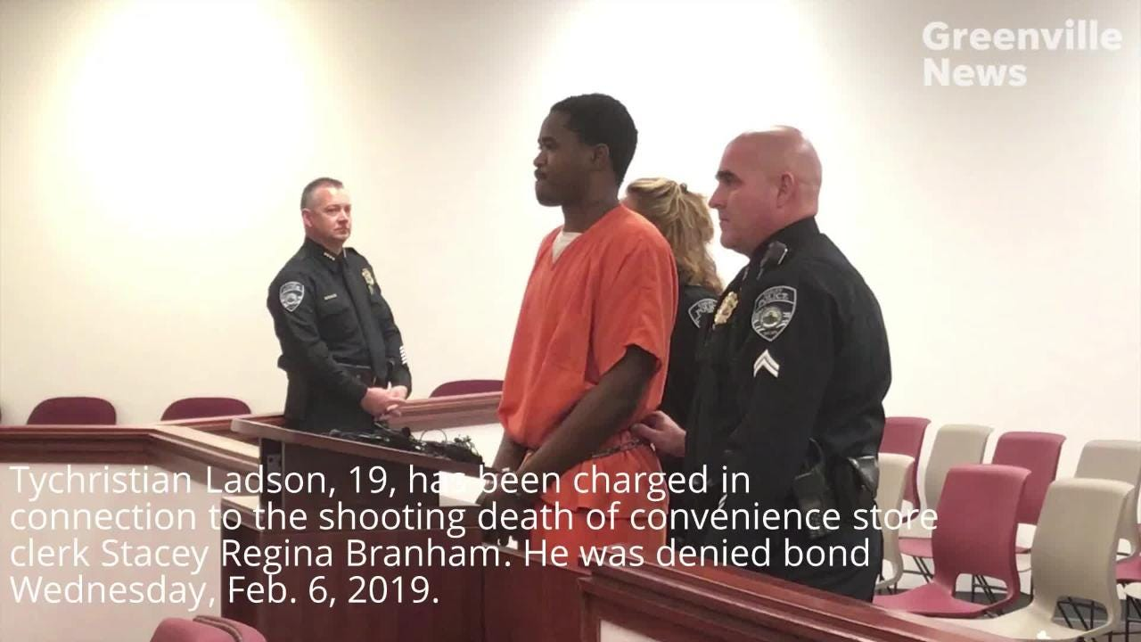 Tychristian Ladson, 19, and Quinton Maurice Collins, 28, were arrested Tuesday in connection to the shooting death of Stacey Regina Branham. The pair appeared in court Wednesday, Feb. 6, 2019, and were both denied bond.