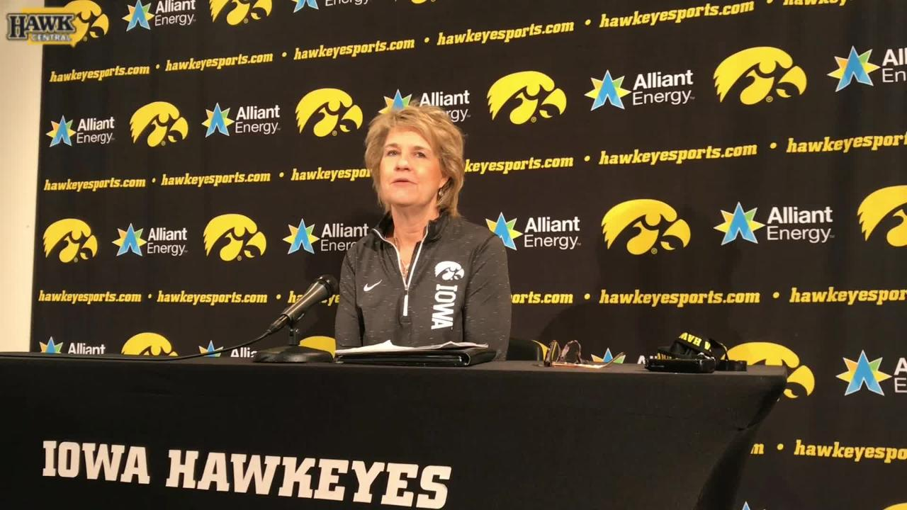 Lisa Bluder talks about the eventual number retiring of Megan Gustafson