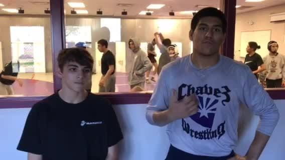 Feb. 1, 2019; Laveen Cesar Chavez junior Andres Avelar and senior Eric Orozco discuss the impact of teammates Luis Higuera and Luke Washburn on wrestling team.
