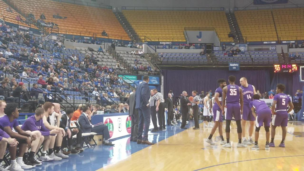 The Aces' basketball coach was ejected with 14:14 to play in Terre Haute after criticizing the officials during an eventual 85-62 loss.