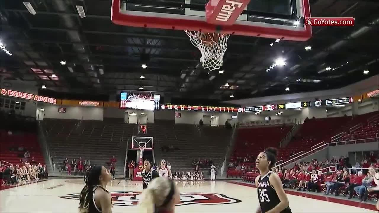 The South Dakota Coyotes beat Omaha 78-33 and held them scoreless in the first quarter.