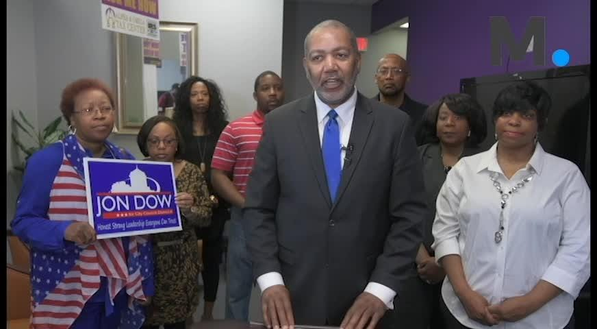 Jon Dow announces that he is running to take back his city council seat in Montgomery, Ala., on Thursday February 7, 2019.