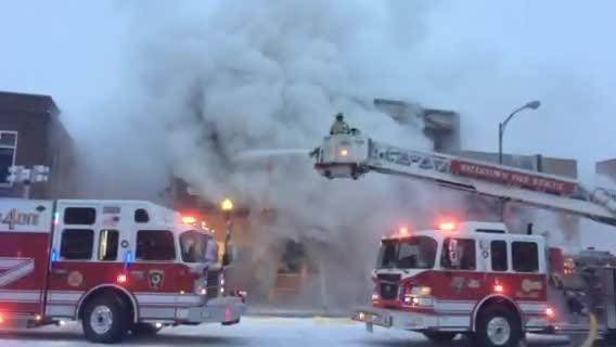 The Watertown Fire Rescue responded to a fire at the former Harbor Bar building in downtown Watertown early Thursday morning. The firemen battled arctic temperatures while dousing the flames.