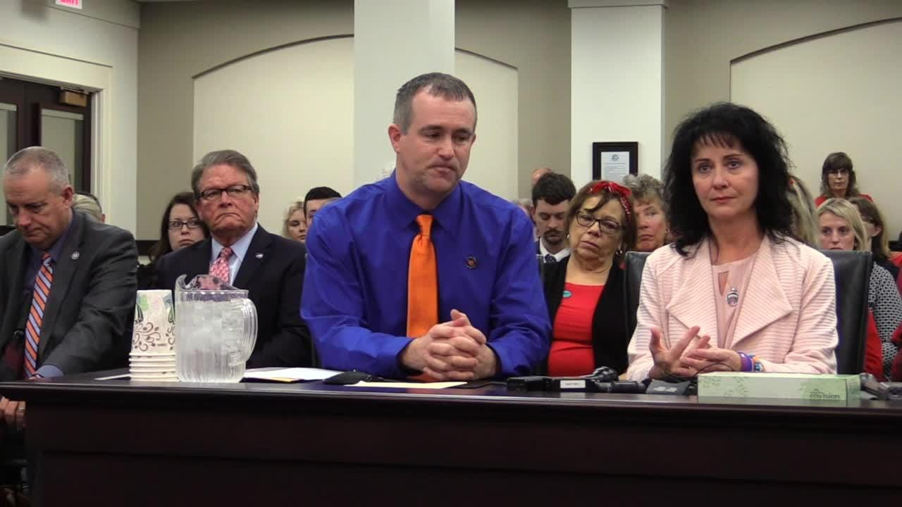 """Brian and Teresa Cope as well as Jasen and Secret Holt give emotional pleas for the passage of Senate Bill 1, the """"School Safety and Resiliency Act"""""""