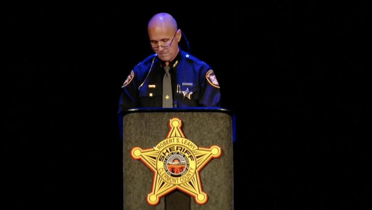 During Deputy Bill Brewer's funeral, Clermont County Sheriff Steve Leahy sends a message to anyone that would do an officer harm.