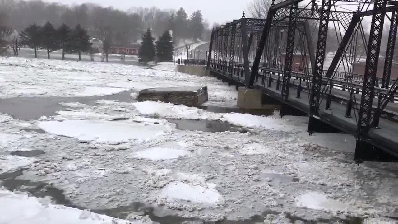 Ice builds up at Grand River in Portland