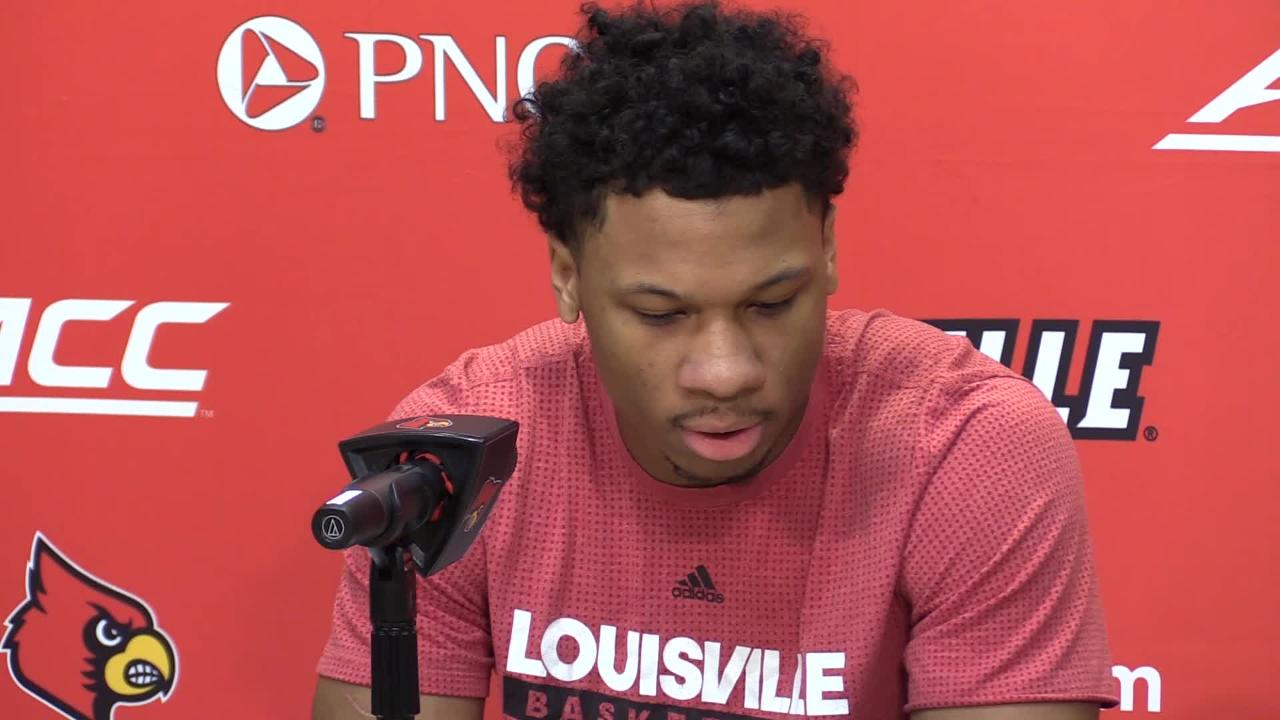 Louisville forward Dwayne Sutton spoke about Florida State ahead of Saturday's game, along with what's been working for the Cardinals. Feb. 8, 2019