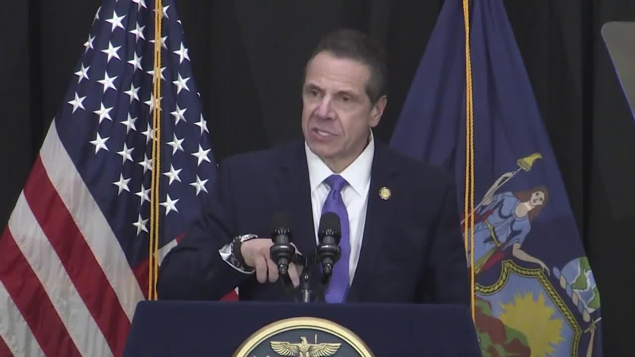Gov. Andrew Cuomo tore into Senate Democrats who are opposing Amazon's plans for his second headquarters in Queens during a speech on Long Island on Feb. 8, 2019.