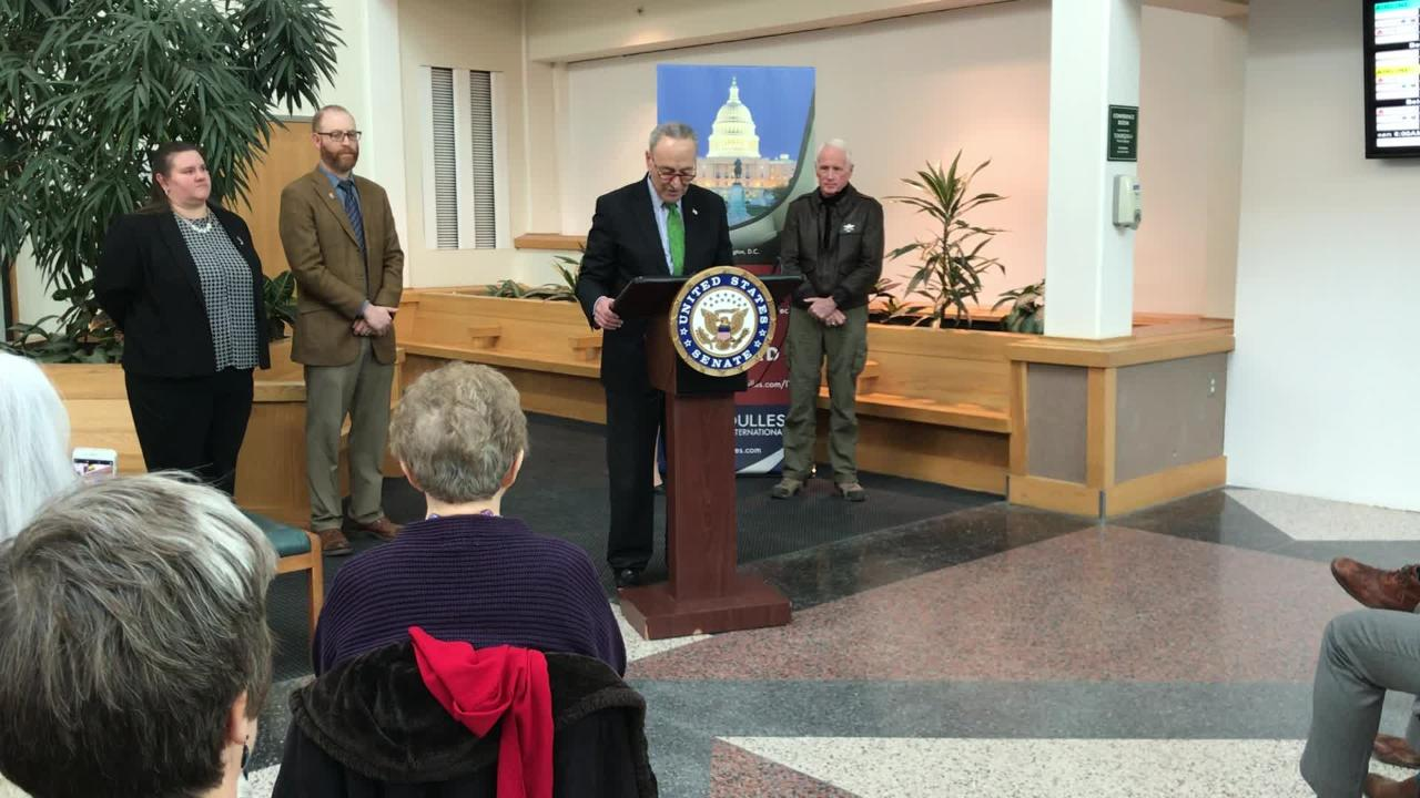 U.S. Senator Chuck Schumer visited Ithaca to announce a push for $10 million in FAA funding