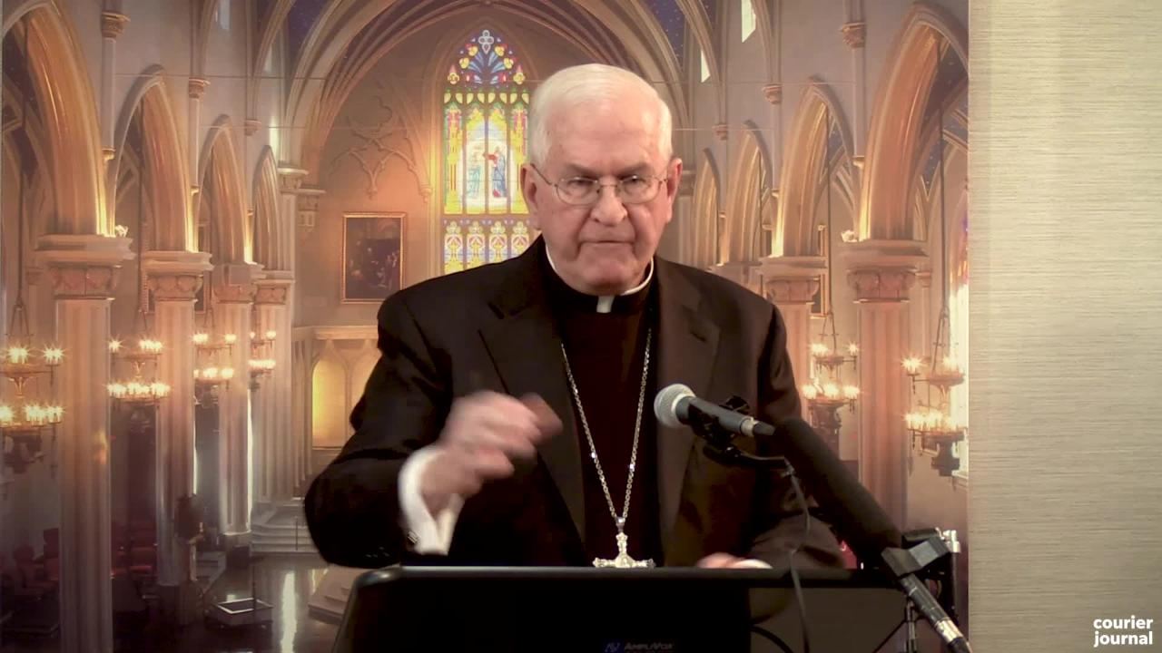 Archbishop Joseph Kurtz speaks on the report on sexual abuse by priests by the Archdiocese of Louisville at the Pastoral Center. Feb. 8, 2019