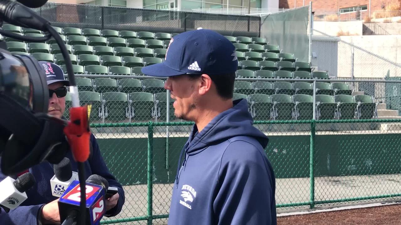 Nevada baseball coach T.J. Bruce discusses his team during the Wolf Pack's media day on Friday.