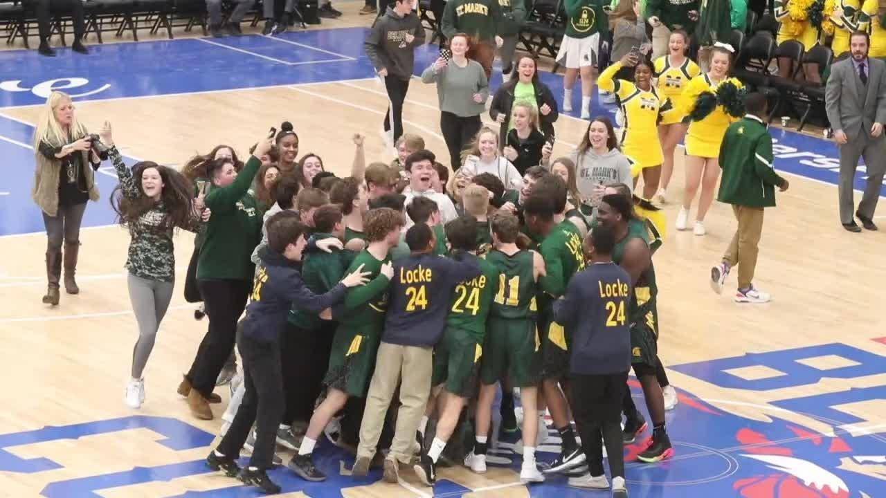 St. Mark's players were joined by their classmates on the court after knocking off rival Salesianum for first time since 2010. It was a fitting end for the inaugural SL24 Memorial Classic, which benefits the Unlocke the Light Foundation.