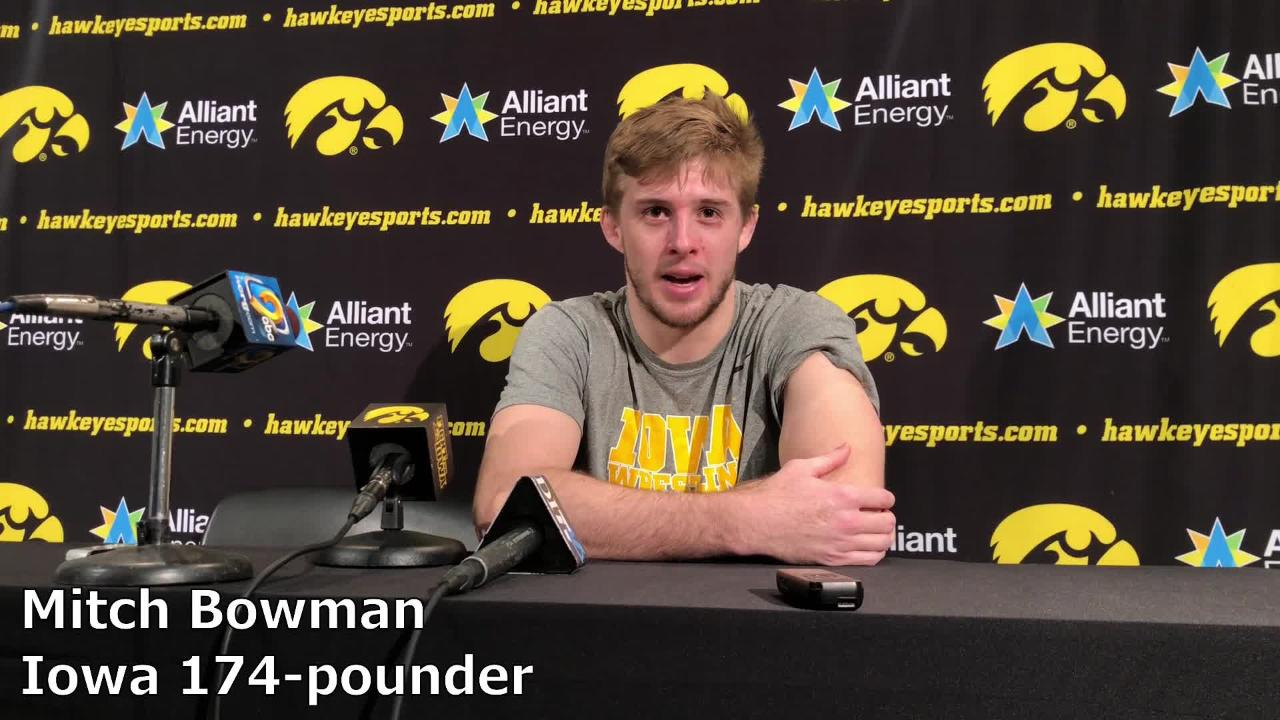 Iowa's Mitch Bowman pinned Maryland's Josh Ugalde on Friday night. Bowman improved to 5-4 overall.