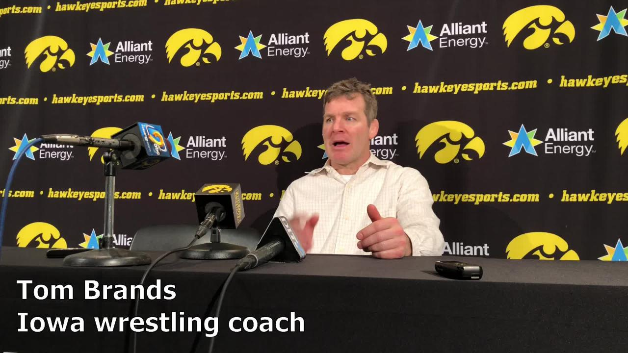 Iowa wrestling coach Tom Brands discusses the Hawkeyes' 48-0 win over Maryland on Friday night in Iowa City.