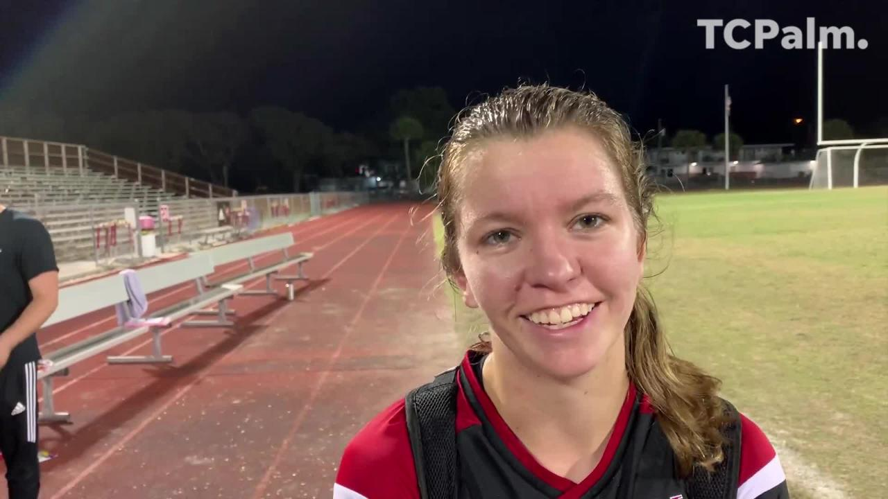 Madelaine Rhodes scored two goals, including the game-winner in double-overtime, and Kate Hassell had an assist in Vero Beach's 2-1 win over Jupiter in the regional semifinal Friday, Feb. 8, 2019.