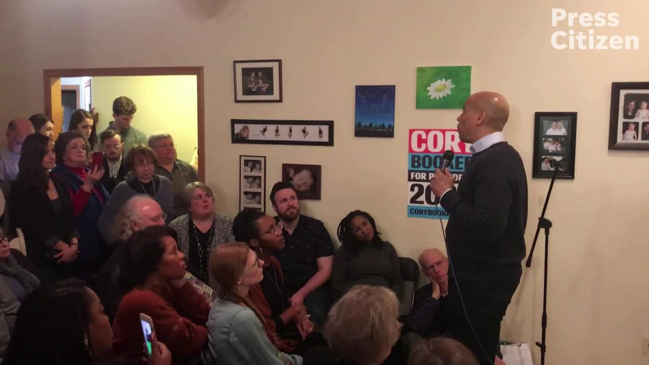 Presidential candidate Sen. Cory Booker (D-NJ) speaks to a crowd in Iowa City.
