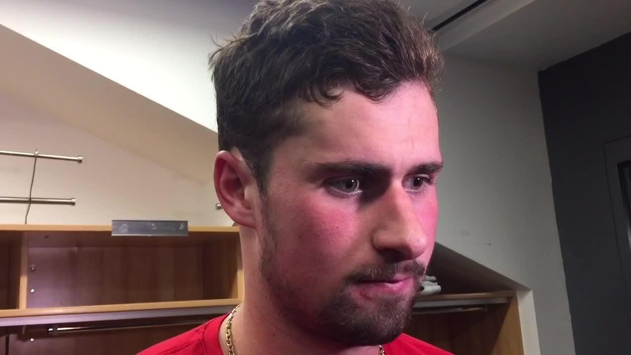 Dylan Larkin didn't want to talk about himself, but teammates did, after the Red Wings' 3-1 loss to Buffalo, Feb. 9, 2019 in Buffalo, New York.