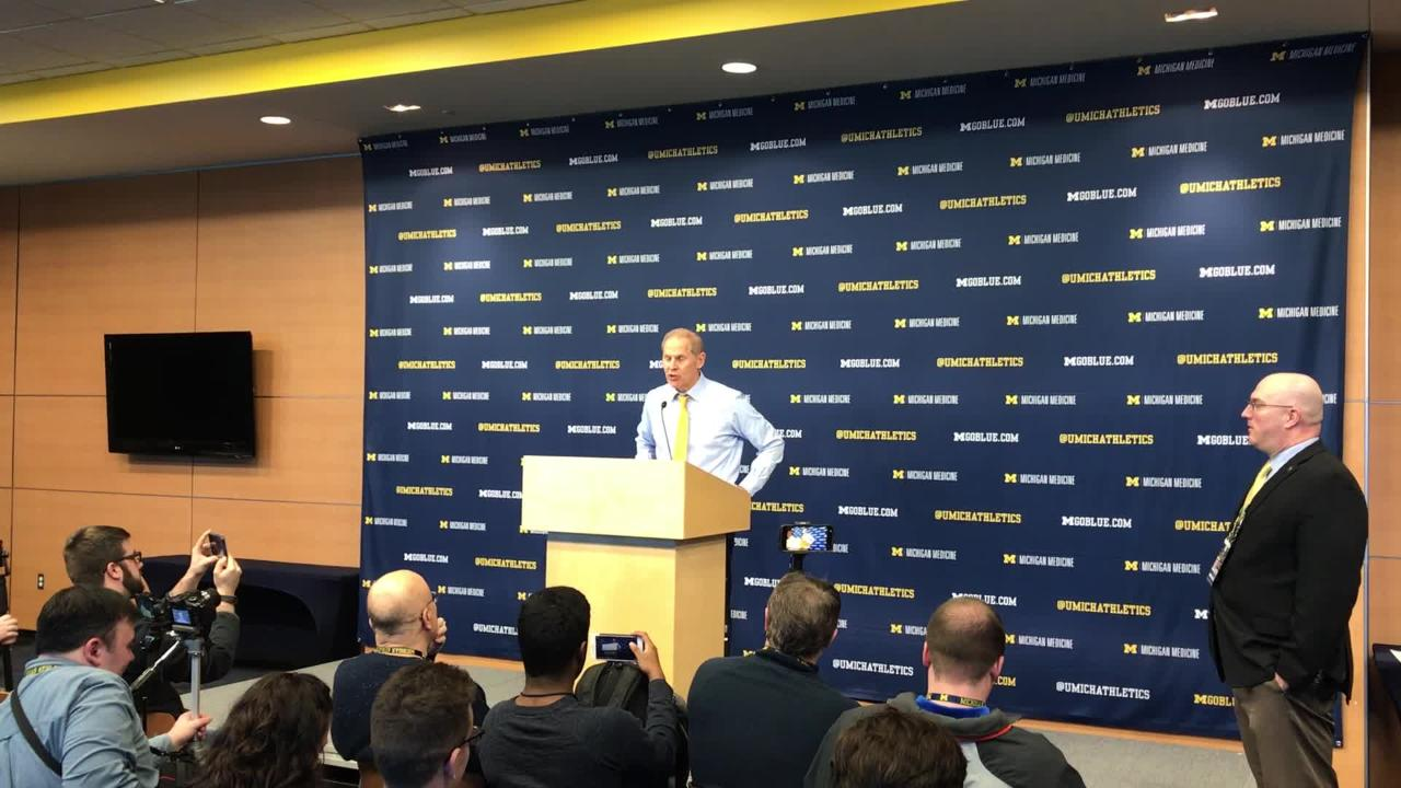 Michigan basketball coach John Beilein speaks to the media after the 61-52 win over Wisconsin on Saturday, Feb. 9, 2019, in Ann Arbor.
