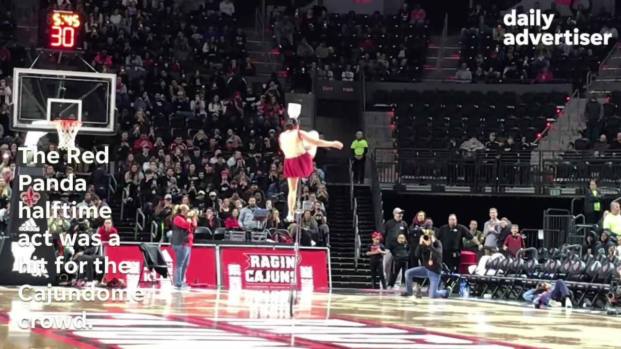 With Red Panda entertaining the crowd on a unicycle, UL beat Georgia State 76-72 in a big Sun Belt Conference game for the Ragin' Cajuns