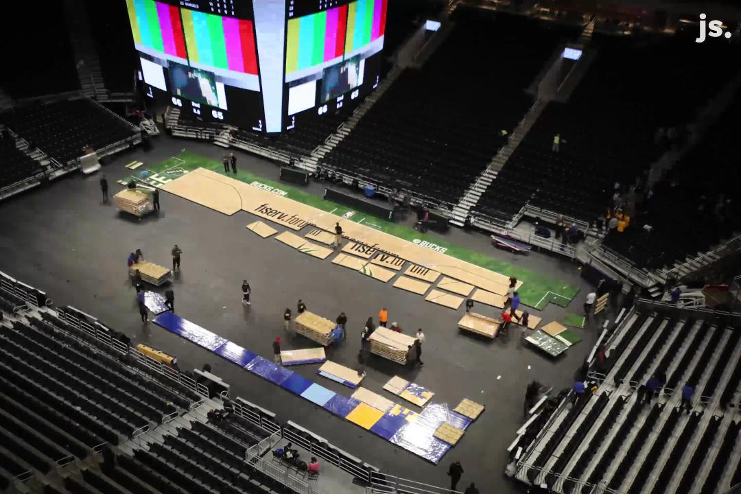See a time lapse video of how the floor is changed out when Marquette men's basketball and the Bucks play on the same day at Fiserv Forum.