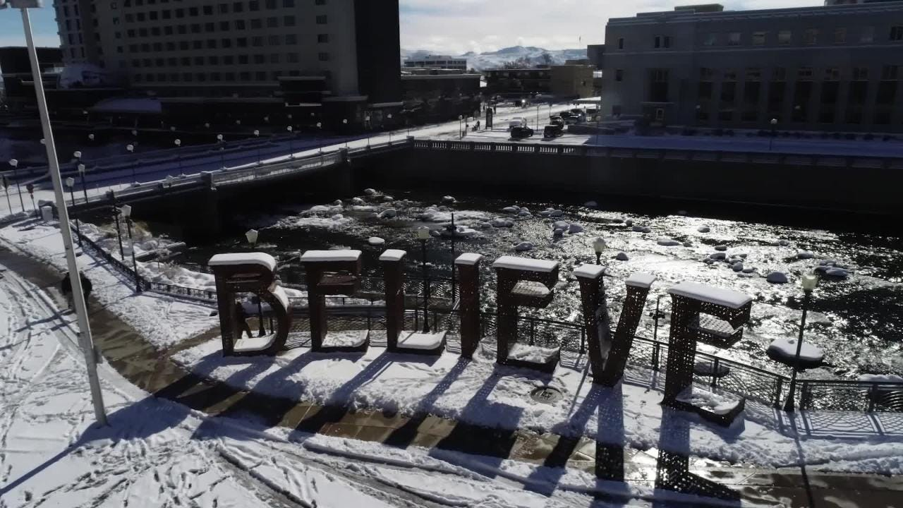 Aerial images of Reno after a winter storm dumped more than seven inches on the city and as much as four feet in the mountains.