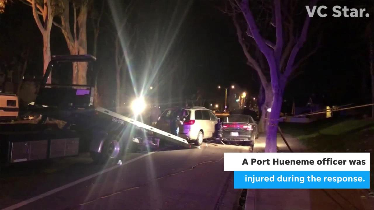 A Port Hueneme officer was injured Sunday night after she and other officers responded to a crash on North Ventura Road.
