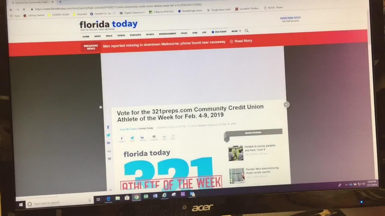 Vote at 321preps.com and floridatoday.com for Community Credit Union Athlete of the Week. Posted Feb. 11, 2019.